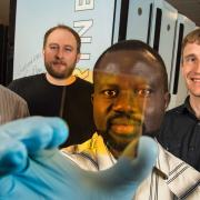 A multi-institutional team led by NREL discovered a way to create new alloys that could form the basis of next-generation semiconductors. The NREL team includes (left to right) Stephan Lany, Aaron Holder, Paul Ndione, and Andriy Zakutayev.