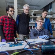 McGehee and grad students in the lab