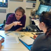 John Falconer interacting with students