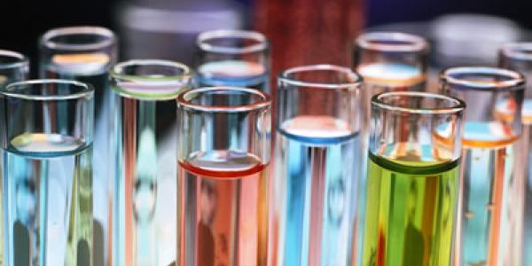 Test tubes with fluorescent liquids
