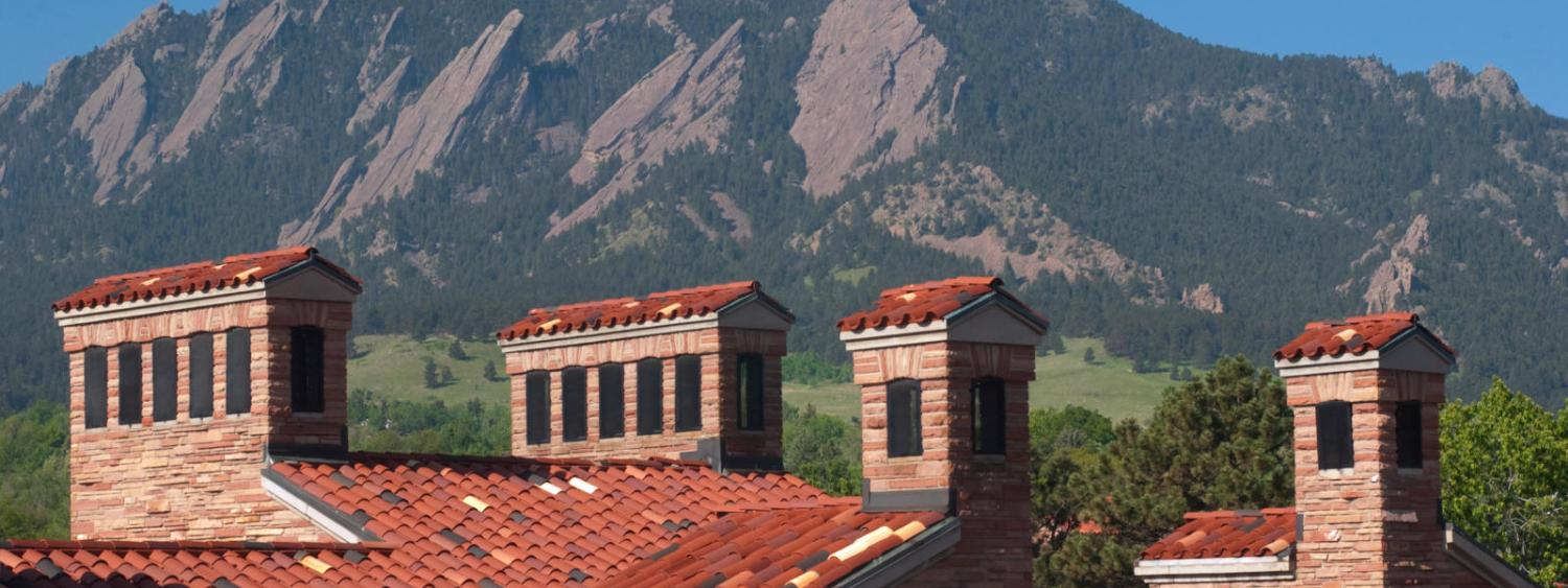 view of Cristol Chemistry building and Flatirons