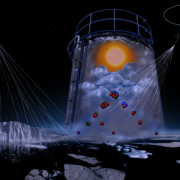 "graphical illustration (credit: Helen Cawley) illustrates the ""Simulation of the marine atmosphere in the CLOUD chamber"""