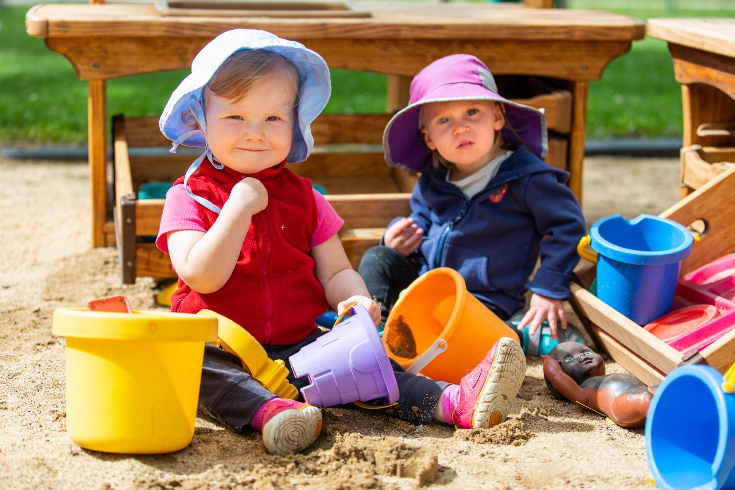 Toddlers in sand box