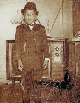 black child with tv