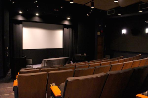 Empty auditorium with cinema screen