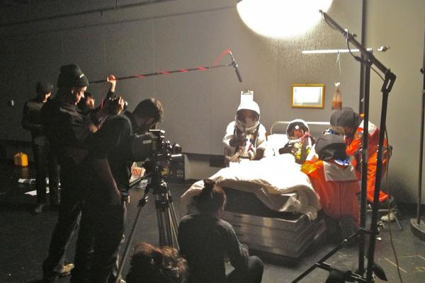 Students working on a film set