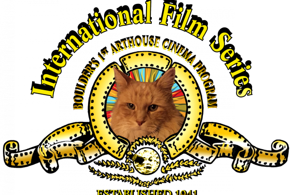 The international film series logo, a parody of the Metro-Goldwyn-Mayer logo with a crest with a tabby cat in the middle