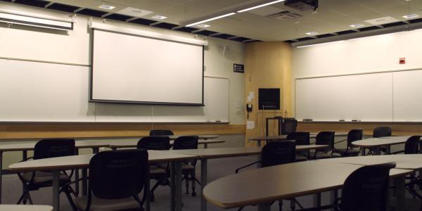large classroom with projection screen