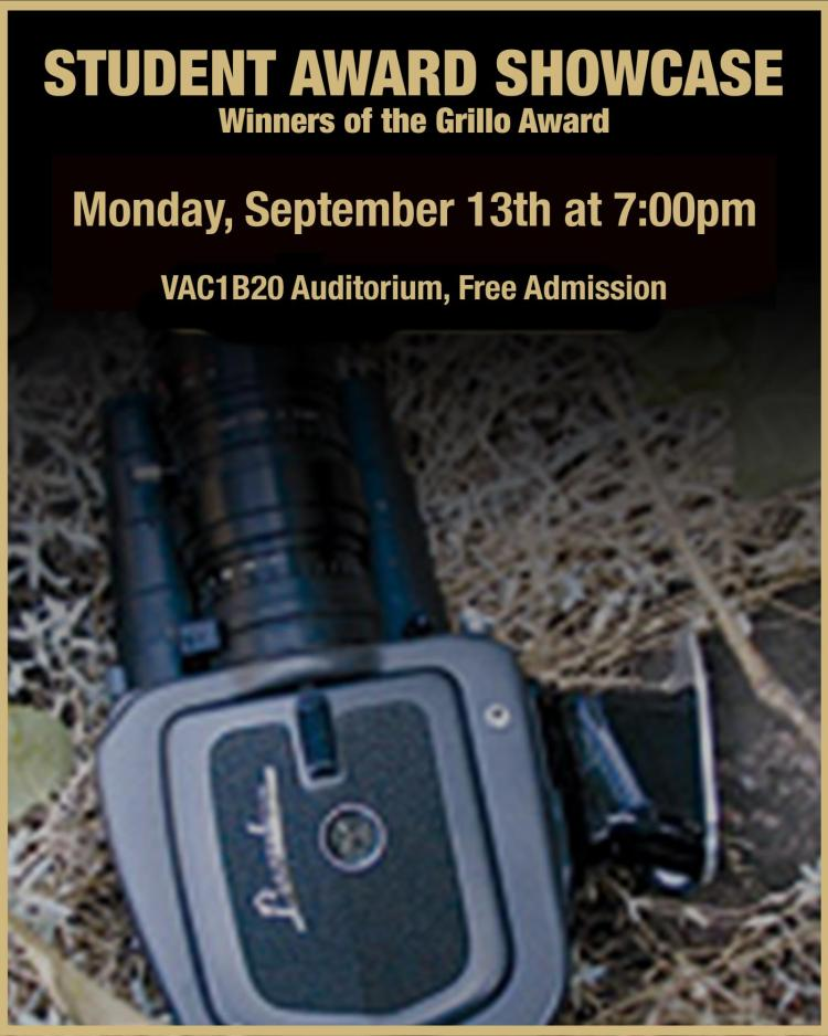 """Up close picture of a super 8 camera lying in the grass, information stating """"Student Award Showcase"""""""