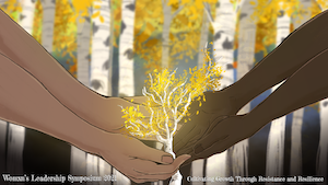 WLS zoom background of two people growing an aspen tree
