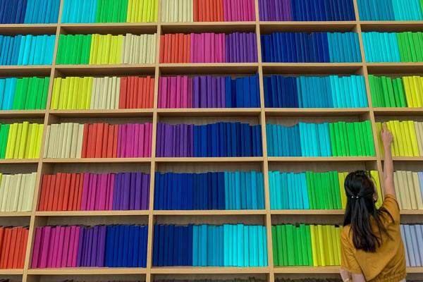 photo of a student reaching up shelves of rainbow colored books (photo by Agustin Gunawan on Unsplash)