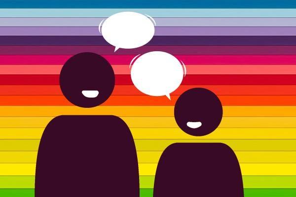 illustration of 2 people talking with rainbow flag behind them