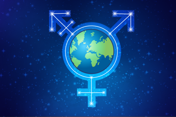 A light blue transgender symbol in front of a starry blue background. The center of the symbol is the Earth.