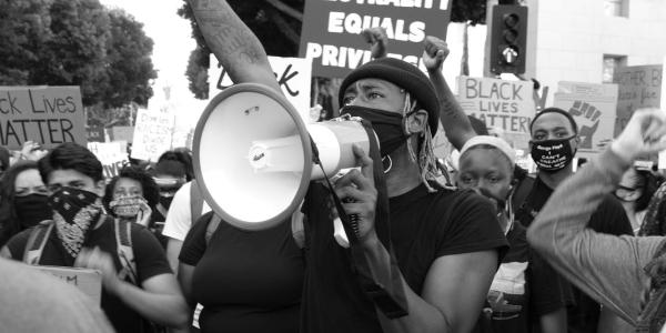 image of an activist protesing