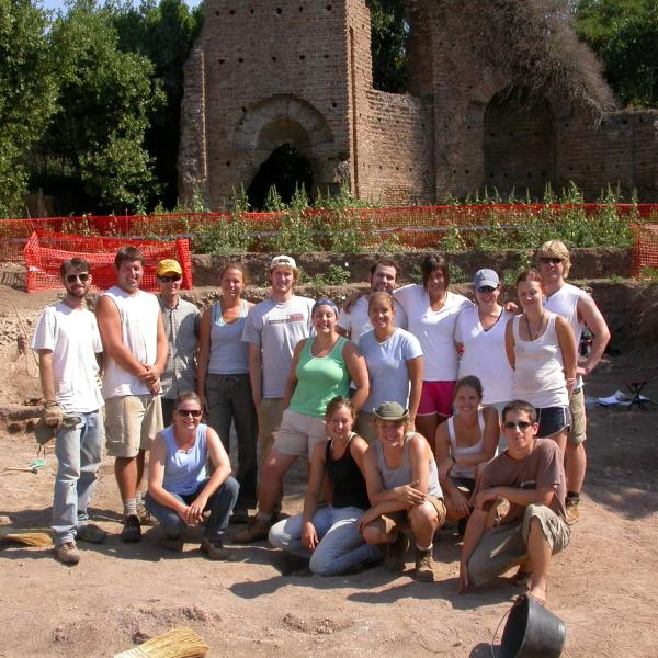 CU Students at excavations at Villa of Maxentius in Rome, Italy