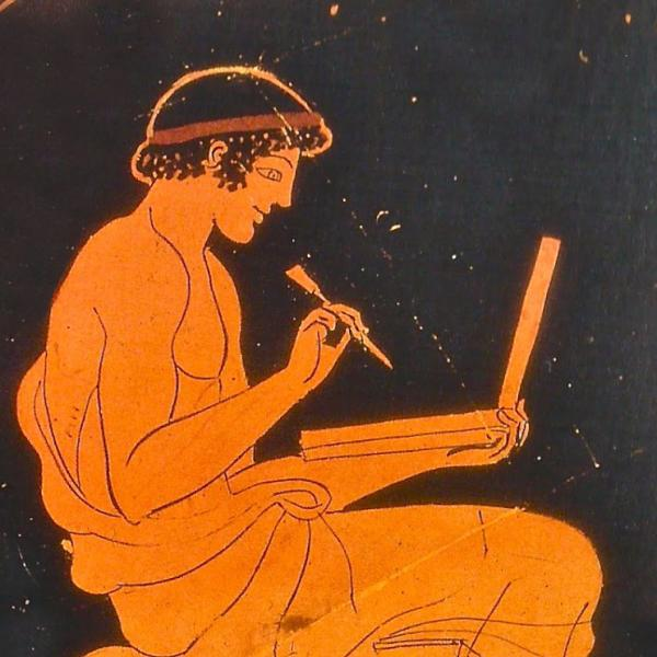 greek vase painting of man writing on a tablet