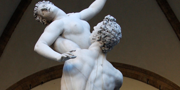 """Statue of """"Rape of the Sabine Women"""" by Giambologna, 1583"""