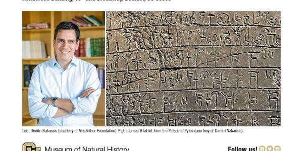CU Museum of Natural History presents: AIA Lecture Series flyer with photo of professor and Linear B Tablet