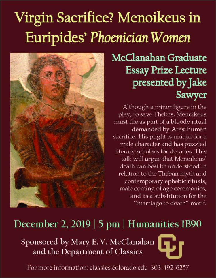 McClanahan Lecture poster with Menoikeus pictured in a red robe