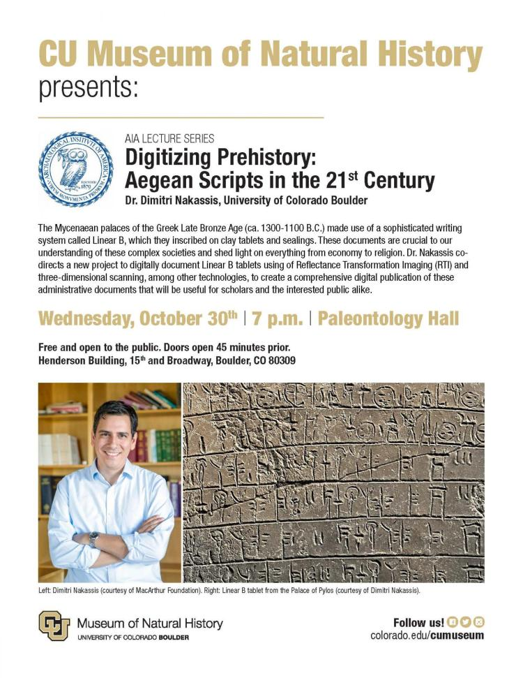 AIA Lecture Series flyer with photo of professor and Linear B Tablet
