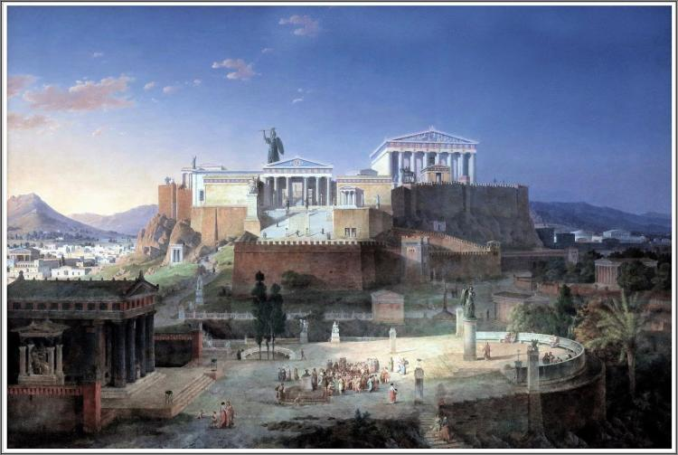 Painting of the Reconstruction Of The Acropolis AndAreopagus In Athens by Leo Von Klenze