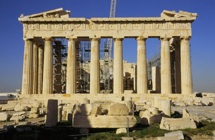 The famous Parthenon with restoration work and scaffolding
