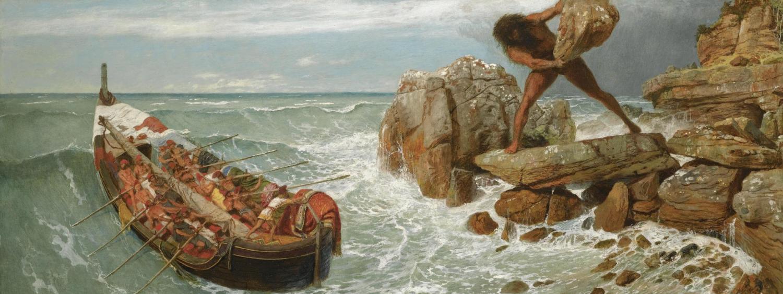 Bocklin's painting of the cyclops, polyphemus battling Odysseus