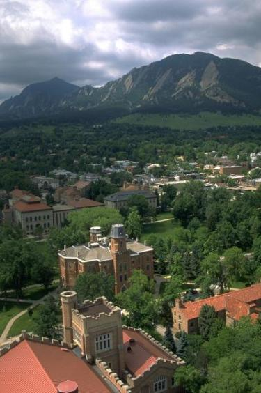An aerial view of the University of Colorado, Boulder