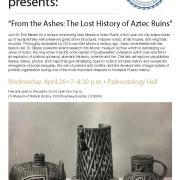 """From the Ashes: The Lost History of Aztec Ruins"" - Dr. Baxter - April 26 poster"
