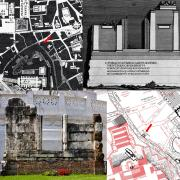 Montage of archaeological architectural drawings