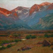 "Image credit (painting): Charles Partridge Adams, American (1858 – 1942), ""Sunrise on the Mountains at the Head of Moraine Park, Near Estes Park, Colorado"" (cropped), c. 1920, oil paint on canvas, 48 x 68 ¼ x 3 inches framed. Gift of Philip, Albert, and Charles P. Adams Jr., sons of the late Charles Partridge Adams, CU Art Museum, University of Colorado Boulder, 86.1825. Photo: Jeff Wells, © CU Art Museum, University of Colorado Boulder"