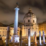column of Trajan at night