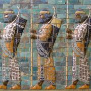 Image of ancient Roman mosaic of men standing with spears