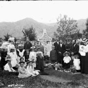 Historic photo of family at gravesite