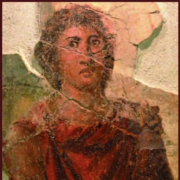Menoikeus pictured in a red robe
