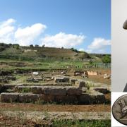 Picture of city of Sikyon, a Roman statue, and Roman coins