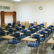 classroom of desks, Narek75, CC BY-SA 4.0 <https://creativecommons.org/licenses/by-sa/4.0>, via Wikimedia Commons