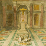 """""""triumph of christianity"""" by rafael depicting a crucifix in place of a toppled statue, Michal Osmenda from Brussels, Belgium, CC BY-SA 2.0 <https://creativecommons.org/licenses/by-sa/2.0>, via Wikimedia Commons"""