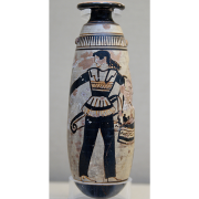 ancient greek vase with depiction of amazon wearing trousers, British Museum, CC BY 2.5 <https://creativecommons.org/licenses/by/2.5>, via Wikimedia Commons