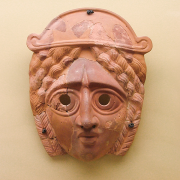 ancient greek terracotta mask, Jerónimo Roure Pérez, CC BY-SA 4.0 <https://creativecommons.org/licenses/by-sa/4.0>, via Wikimedia Commons