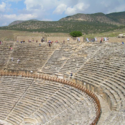 ancient roman theatre in hierapolis, Mach, CC BY-SA 3.0 <https://creativecommons.org/licenses/by-sa/3.0>, via Wikimedia Commons
