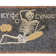 mosaic of a skeleton with an exhortation to cheer up, Dosseman, CC BY-SA 4.0 <https://creativecommons.org/licenses/by-sa/4.0>, via Wikimedia Commons