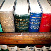 row of brightly colored philosophy books, Limor Noah, CC BY-SA 4.0 <https://creativecommons.org/licenses/by-sa/4.0>, via Wikimedia Commons