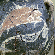 ancient piece of pottery with fish and nets, Wolfgang Sauber, CC BY-SA 3.0 <https://creativecommons.org/licenses/by-sa/3.0>, via Wikimedia Commons