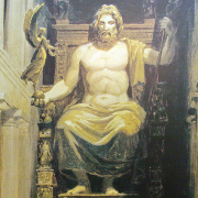 painting of greek statue of zeus, User: Bgabel at  wikivoyage shared, CC BY-SA 3.0 <https://creativecommons.org/licenses/by-sa/3.0>, via Wikimedia Commons