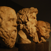 profile view of four greek philosopher busts, Matt Neale from UK, CC BY 2.0 <https://creativecommons.org/licenses/by/2.0>, via Wikimedia Commons