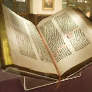 open gutenberg bible, NYC Wanderer (Kevin Eng), CC BY-SA 2.0 <https://creativecommons.org/licenses/by-sa/2.0>, via Wikimedia Commons