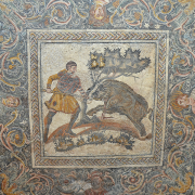 mosaic depicting a boar hunt, Carole Raddato from FRANKFURT, Germany, CC BY-SA 2.0 <https://creativecommons.org/licenses/by-sa/2.0>, via Wikimedia Commons