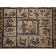 mosaic with different panels depicting hercules achievements, Carole Raddato from FRANKFURT, Germany, CC BY-SA 2.0 <https://creativecommons.org/licenses/by-sa/2.0>, via Wikimedia Commons