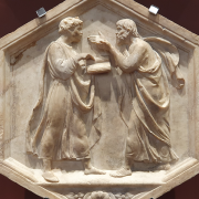 carving of plato and aristotle in a discussion, Yair Haklai, CC BY-SA 4.0 <https://creativecommons.org/licenses/by-sa/4.0>, via Wikimedia Commons